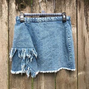 Zara Trafaluc Denim Layered Distressed Mini Skirt